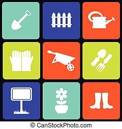 Garden icons square - Set of nine white garden icons on...