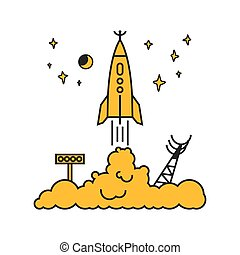 Start of the rocket in clouds, vector illustration - Start...