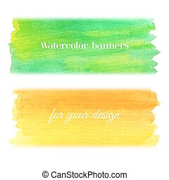Bright watercolor banners set - Abstract hand drawn...