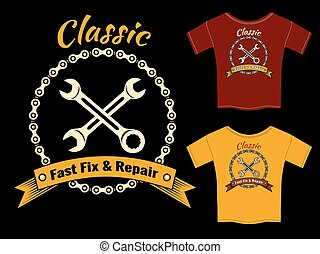 Vector Fix and Repair T-Shirt Template Design - Vector...