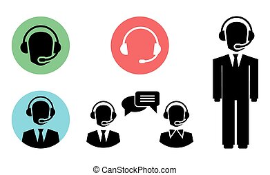 call center icons - vector call center icons of operator in...