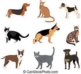 Cats and dogs vector illustration showing different breeds...