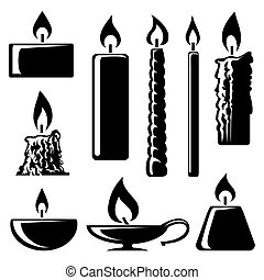 black and white silhouette burning candles - Set of black...
