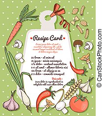 Recipe card with fresh vegetables and pasta - Recipe card...