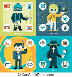 Vector Espionage and Criminal Activity Graphics - Vector...