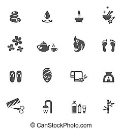 Spa Icons on White Background - Dark Gray Spa Icons Isolated...