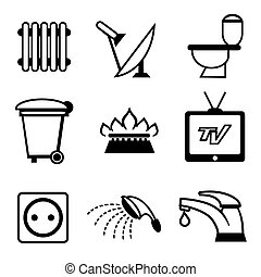 utilities icons, heating and water supply, TV and...