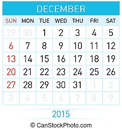 Monthly calendar template for December of year Twenty...