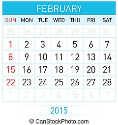 Monthly calendar template for February of year Twenty...