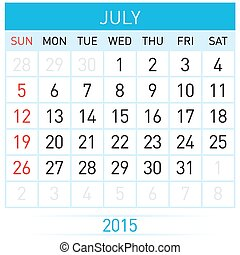 Monthly calendar template for July of year Twenty Fifteen