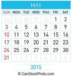 Monthly calendar template for May of year Twenty Fifteen
