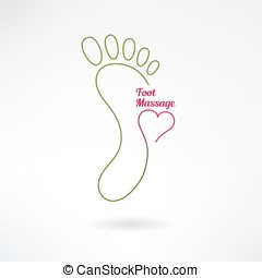 Massage sign and foot logo with heart. Vector - Feet massage...