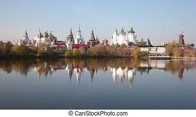 Panorama of the Izmaylovsky Kremlin which is reflected in...