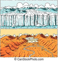 Global Warming Glacier - A cartoon showing a glacier...