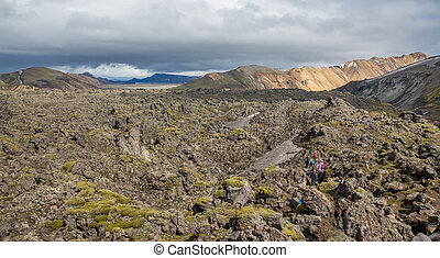 Tourists in Landmannalaugar unbelievable lava landscape,...