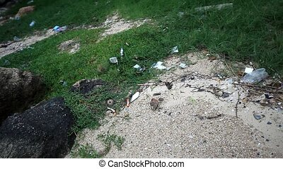 beach, Thailand July 18, 2014 Garbages on the beach at boat...