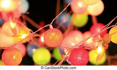 Christmas garland blurred lights background with different...