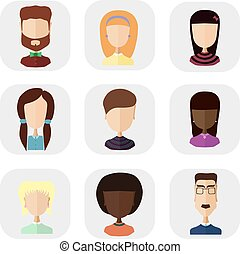 Icons of people in a flat style