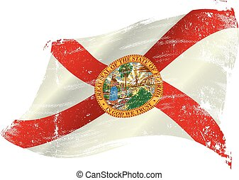 Florida grunge flag - flag of Florida in the wind with a...