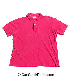 Polo Shirt - Pink polo shirt on a white background