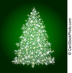 christmas tree on green background - illustration of a...