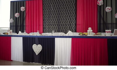 beautifully decorated table bride and groom in restaurant