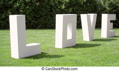 grande, lettere, erba, Amore