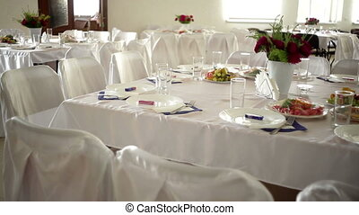 beautifully decorated wedding table in the restaurant