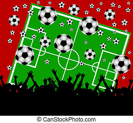 soccer field and fans on red background - illustration of a...