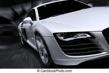 Fast car moving with motion blur - Very fast car moving with...