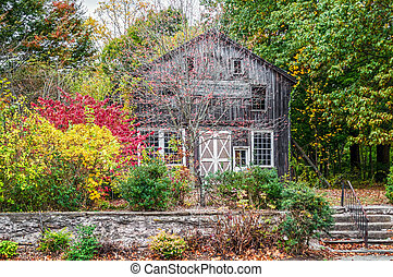 Rural Autumn Scene - An old barn and colorful Autumn leaves...