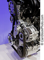 Closeup of an internal combustion engine - Closeup showing...