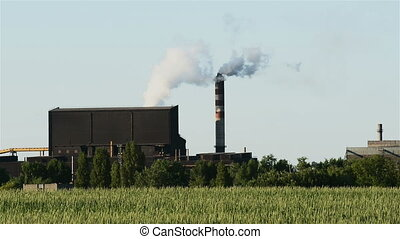 Smoke rising from the chimney - Smoke rising from industrial...