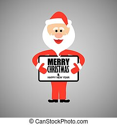 happy funny santa claus greeting merry christmas and happy...