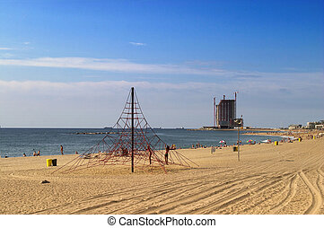 Barcelona beach - a view to the sandy beach in Barcelona
