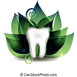 Tooth cross section and leaf. Bright abstract treatment...