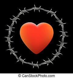 Barbed Wire Heart Black - Barbed red glowing heart. Isolated...