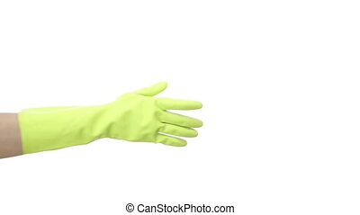 Shaking Rubber Gloved Hands - Isolated on white shot of a...