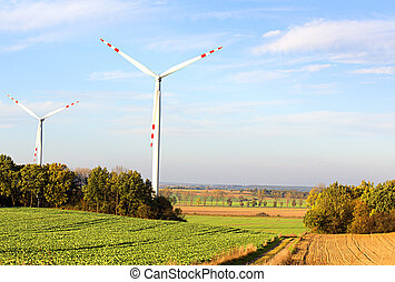 Windmills in the Polish countryside