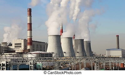 Coal burning power plant with smoke
