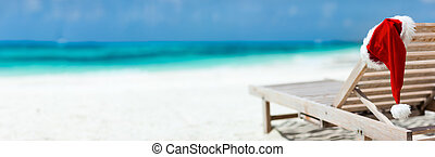 Christmas beach vacation - Panorama of sun lounger with...