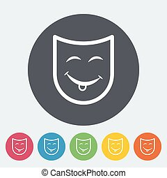 Theatrical mask. Single flat icon on the circle. Vector...