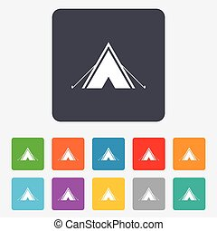 Tourist tent sign icon Camping symbol Rounded squares 11...