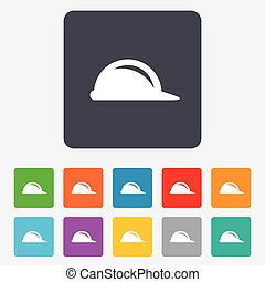 Hard hat sign icon. Construction helmet symbol. Rounded...