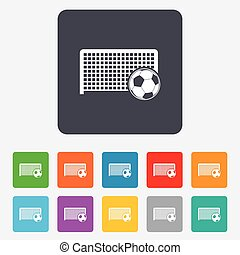 Football gate sign icon. Soccer Sport symbol. - Football...