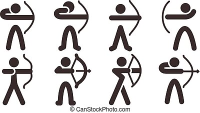 Archery icons - Summer sports icons set - Archery icons
