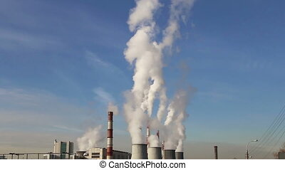 coal burning power plant - Smoke stacks at coal burning...