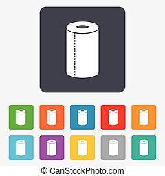 Paper towel sign icon Kitchen roll symbol Rounded squares 11...