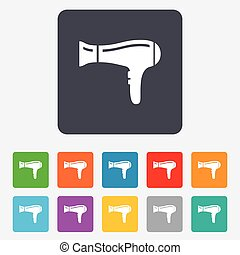 Hairdryer sign icon. Hair drying symbol. Rounded squares 11...