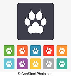 Dog paw with clutches sign icon Pets symbol Rounded squares...